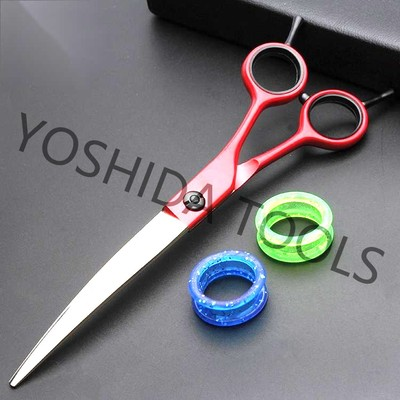 Japanese Steel Red Elastic Paint Handle Professional Hair Scissors